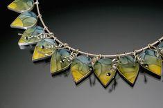 """Necklace   Judy Kuskin, """"Round Midnight"""" detail.  Polymer, silver"""