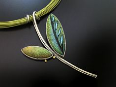 Grace Stokes - Chartreuse & Blue Leaf Pendant - Sterling Silver and Polymer Clay