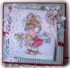 Whimsy Inspirations Blog: Season's Greetings - so sweet and I love the snowflake border die
