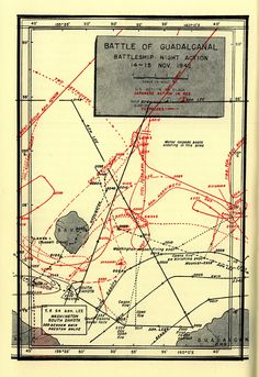 Map depicting Japanese and US Naval movements during the Second Naval Battle of Guadalcanal the night of Nov 14, 1942.
