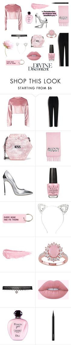 """""""Senza titolo #191"""" by castawaystan ❤ liked on Polyvore featuring Boohoo, Whistles, Edie Parker, Gucci, Casadei, OPI, Various Projects, Charlotte Russe, By Terry and Betsey Johnson"""