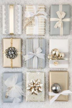 Go the nontraditional route by swapping green and red for sleek silvers and golds. Your Christmas spread will look like it came straight out of a magazine. Get the tutorial at Boxwood Clippings. What you'll need: Gold ribbon ($5; amazon.com)