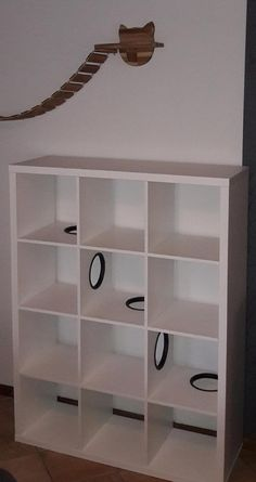 The IKEA Kallax collection Storage furniture is an essential part of any home. They offer order and help you keep track. Stylish and wonderfully simple the ledge Kallax from Ikea , for example. Ikea Hacks For Cats, Cat Hacks, Ikea Regal, Ikea Kallax Regal, Cat Shelves, Ikea Shelves, Ikea Cat, Ikea Ikea, Diy Kallax
