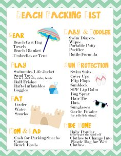 Going to the beach? Don't forget the sunscreen! Free Beach Printable Packing List