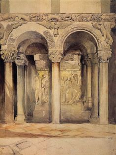 John Ruskin - End View of the Pulpit in the church of San Ambrogio, Milan - Drawing Century -Pencil with light washes of colour Watercolor Architecture, Architecture Drawings, Building Illustration, Illustration Art, Romantic Writers, Art Nouveau, John Ruskin, Kitsch, Pre Raphaelite