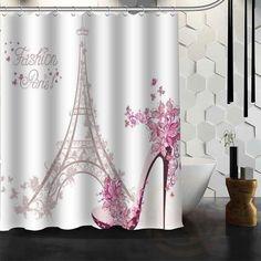 Eiffel Tower In Paris Waterproof Fabric Shower Curtain