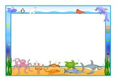 Commotion in the Ocean A4 page borders (SB7535) - SparkleBox