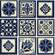 Blue White II Mexican Talavera Tile Collection Designs