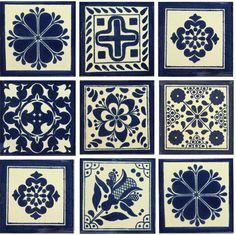 Blue White II Mexican Talavera Tile Collection Designs