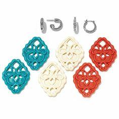 FERN FINDS: Interchangeable Drop Hoop Earrings Set Hsn Jewelry, Ferns, Earring Set, Colleen's Corner, Hoop Earrings, Bling, Drop, Jewel, Fern