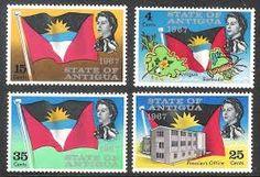 antigua island postage flags