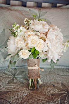 Add some lace and a few pearl strance...romantic rustic wedding flower bouquet, bridal bouquet, wedding flowers, add pic source on comment and we will update it. www.myfloweraffair.com can create this beautiful wedding flower look.