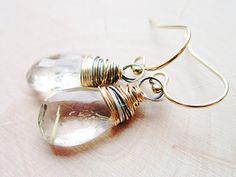 Goldilocks Earrings Gold Rutilated Quartz by thelittlehappygoose, $68.00