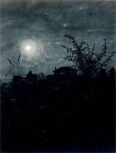 """womeninarthistory:  """" Moonlight Scene, Houses in Background, 1864, Leon Bonvin  """""""