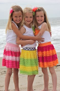 Colorblock ruffle skirt tutorial-- I love pics of little friends together! I can't wait for this to be KD Ava and Zoe