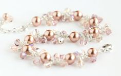 Ballet Pink Cluster Bracelet with light pink Swarovski pearls, Swarovski crystals, and sterling silver. By OpheliasJewels, $54.00