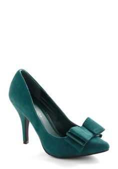 Late Dining Heel - Green, Solid, Bows, Party  Price: $34.99