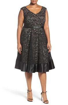 Alex Evenings Embellished Waist Lace Party Dress (Plus Size)