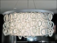 "Recycled glass chandelier: Custom made at Ridge Studio. You choose the glass and frame color. 26"" diameter $1,200 ridgestudio.ca"