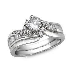 1 CT. T.W. Princess-Cut Diamond Bypass Bridal Set in 14K White Gold - Zales