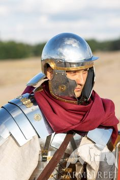 A mix between an Imperial Gallic Helmet and a Coolus, this stainless steel Roman helmet looks gorgeous and can be shipped worldwide. Available in: stainless, mirror polishing, satin polishing Soldier Helmet, Roman Helmet, Roman Armor, Leather Bracers, Ancient Armor, Medieval Helmets, Riding Helmets, Bronze, Brass