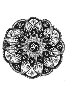Om Circle Tattoo Design - A meaningful mandala tattoo sketch for women. The om symbol inside means life and change.