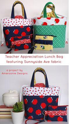 Ameroonie Designs: Teacher Appreciation Lunch Bags featuring Sunnyside Ave fabrics