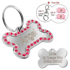 Didog Rhinestone Custom Pet ID Tags, Bone Shape,Free Engraved and Gifts -- Visit the image link more details. (This is an affiliate link and I receive a commission for the sales) #DogCare