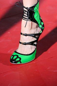 Miu Miu Green & Black Ankle Strap Boots Spring Summer 2011 #Shoes #Heels