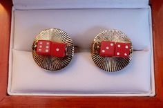 Original Vintage Rare Figural/Functional Spinning Red Dice Cufflinks by CremedelaCuff on Etsy