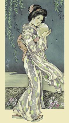 Kashou Takabatake Geisha Japan, Japanese Geisha, Vintage Japanese, Kyoto Japan, Okinawa Japan, Japanese Kimono, Japanese Artwork, Japanese Painting, Japanese Prints
