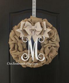 Summer wreaths- Monogram burlap wreath- Chevron Burlap Wreath - wreaths for door- Autumn wreaths  - Door Wreath - Monogram wreath