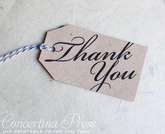DIY Printable Calligraphy Thank You Wedding Favor or Gift Tags
