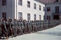 Infantry parade, 4th mountain division Enzian, Gebirgs-Artillerie-Regiment 94, Lohengrin Kaserne, Innsbruck, 1940, color photo - pin by Paolo Marzioli