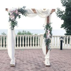 Image result for rustic white and pink chuppah