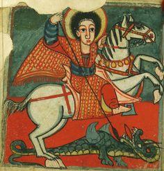 Illuminated Manuscript, Gondarine sensul, St. George slaying the dragon, Walters Manuscript 36.10, fol. 2v