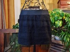 Vintage Short Skirt Black Lace Extensible Fabric Boho Romantic Clothes Girl Woman Women Bohemian Urban Soft Lining Elastic Waist