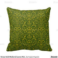 Green Gold Medieval Leaves Nature Design Pillow
