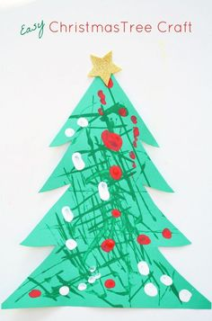 Easy Christmas Tree Craft-Use dough cutters to paint your own Christmas trees. Then decorate them.
