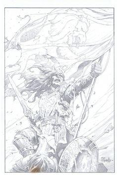 King Conan: The Conqueror Cover by Tomas Giorello Comic Art Comic Books Art, Comic Art, Black And White Comics, Splash Page, Conan The Barbarian, Art Archive, Sci Fi Fantasy, Dark Horse, Types Of Art