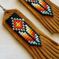 Etsy の Beaded Leather Earrings Thunderstorm by EarthArtistry