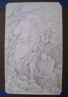 #WIP #7ofPentacles #7ofCoins #HollyBroxon #SeventyEightTarot #Tarot #sketch #goddess #woman #illustration #fantasy #artist #finalsketch #fruit #tree #reclining #basket #harvest #shading #graphite #art #artwork #buildup #layering http://www.pinterest.com/flutterbliss/holly-broxsons-art/