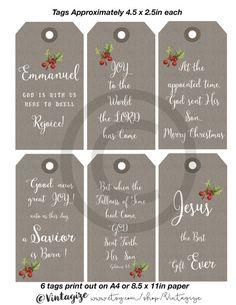 Printable Christmas Christian Kraft Paper Gift Tags. by Vintagize