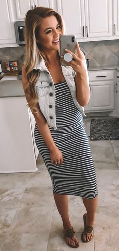 Amazing Spring Outfits To Copy Now, SPRİNG OUTFİTS, white and black striped sleeveless dress Casual Outfits, Cute Outfits, Fashion Outfits, Womens Fashion, Work Outfits, Biker Outfits, Amazing Outfits, Work Fashion, Fashion Fashion
