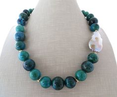 Chrysocolla necklace, baroque pearl necklace, chunky necklace, big bold necklace, stone choker, contemporary jewelry, gemstone jewelry by Sofiasbijoux on Etsy