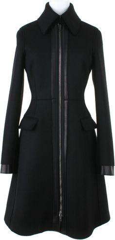 REED KRAKOFF Aline Black Coat in Doubleface Woolfelt Of Virgin Wool and Angora with Leather Trimming