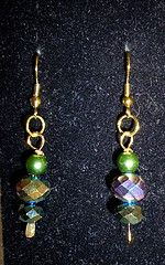 Green pearls with crystals