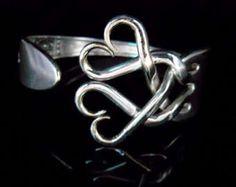 Antique Silverware Jewelry Fork Bracelet in Original Weaving