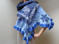 Navy sky blue flower nuno felt silk wool shawl wrap by feltinga, $34.90