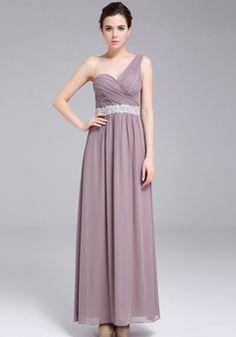 A line Floor Length One Shoulder Chiffon Natural Waist Evening Dress With Sash/ Ribbon - 1300305982B - US$199.99 - BellasDress